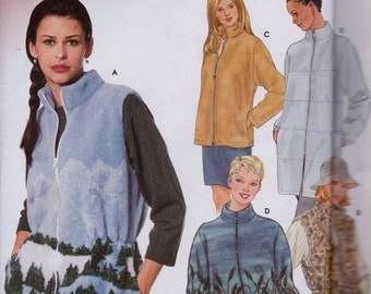 Simplicity 9409 Misses' Vest and Jacket Pattern, UNCUT, Size Large, XLarge, Fleece