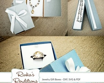 3d Jewelry Gift Boxes Digital Cut File and Template - DXF, SVG and PDF