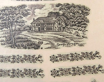 Vintage Ceramic Transfers Country Inns Chromo Transfer & Potters Supply Co Stoke on Trent, Farmhouse Supplies for all Manner of Art Projects