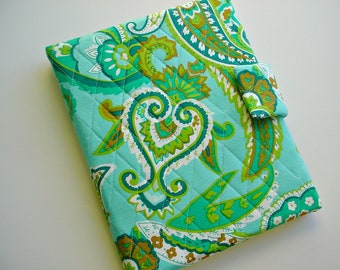 iPad cover/iPad Air/iPad Pro 9.7/Kindle Fire HD 8.9/10 cover/Samsung Tab A 9.7 cover  quilted in Teal/Green Paisley