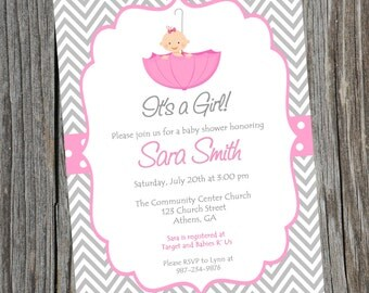 Pink Umbrella Baby Shower Invitation.  Printable Baby Girl Chevron Shower Invitation.  Girls baby shower Invitation.