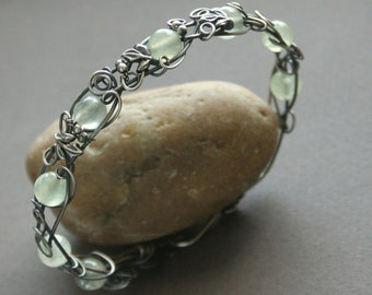 Mint Tea - mint green prehnite sterling silver wire wrapped bangle bracelet