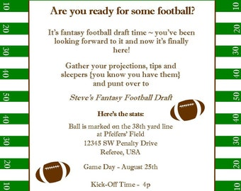 Fantasy Football Superbowl Birthday Party Printable Invitation