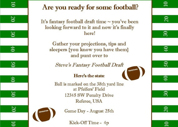 Fantasy Football Superbowl Birthday Party Printable Invitation by
