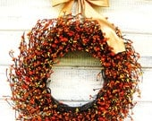 Fall Wreath-Autumn Door Decor-Thanksgiving Wreath-ORANGE & GOLDEN Yellow Wreath-Fall Home Decor-Scented Wreaths-Custom Made USA- Gifts