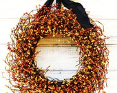 BLACK ORANGE & YELLOW Door Wreath-Halloween Wreath-Autumn Home Decor-Fall Door Decor-Scented Fresh Orange-Custom Choose Scent and Ribbon