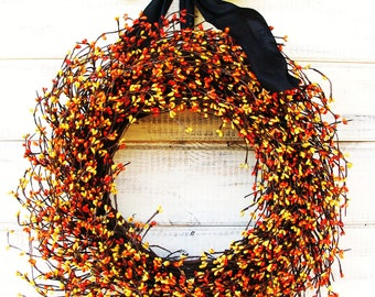 HALLOWEEN WREATH-Fall Wreath-Black & Orange Wreath-Halloween Decor-Autumn Home Decor-Fall Door Decor-Scented Wreath-Custom Made-Fall Decor