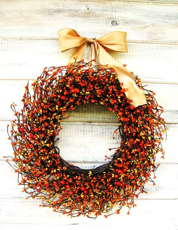 Fall Wreath-Autumn Door Decor-Thanksgiving Wreath-ORANGE & GOLDEN Yellow Wreath-Fall Home Decor-Scented Wreaths-Custom Made USA- Gifts