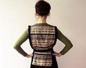 Vintage 70s Southwestern Tribal Boho Corduroy 2 Piece Tunic Skirt Suit Small