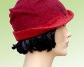 1920 retro fashion style hat, red felt cloche with silk,1920s inspired hat, winter women hat