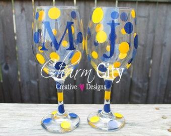 Personalized Wine Glass 20 oz Michigan, West Virginia, Marquette,