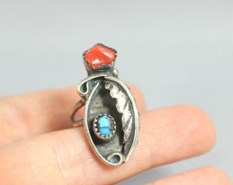 Ring Southwest Sterling Sliver Native Turquoise and Coral