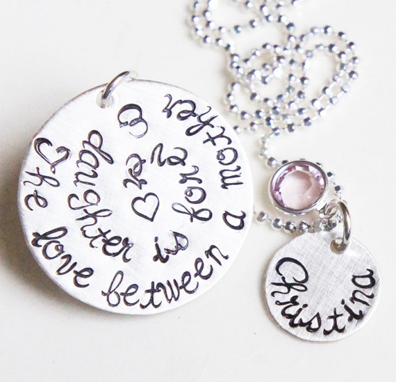 Name Necklace Mother Daughter Love Personalized Birthstone Sterling Silver Stamped JewelryMothers Day