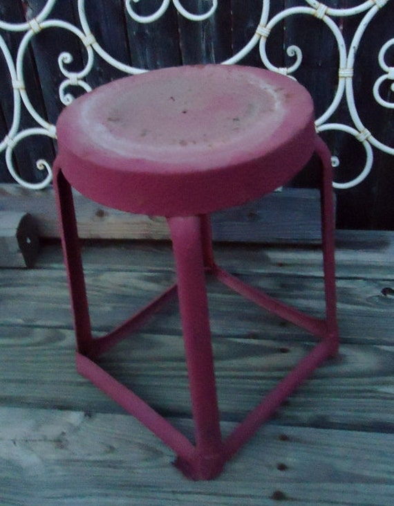 Vintage Pink/Red Rustic Metal Stool