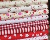 Bargain 10 pieces Cotton Fabric square fat quarter bundles / sets  Mixed patterns 100% cotton FBC69