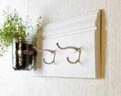Coat Hooks with Wall Vase - Mason Jars and Barnwood - White - Coat Rack