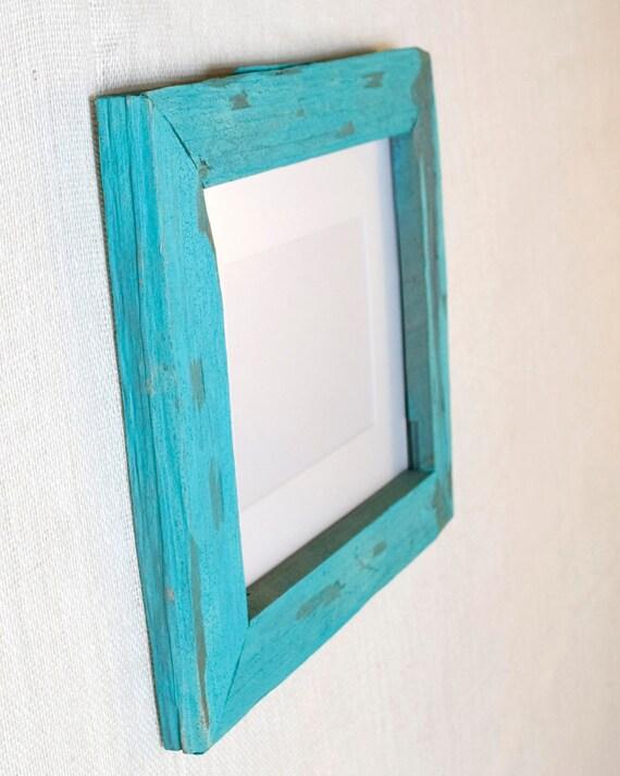 8x10 Vineyard Wood Picture Frame - Aqua, Turquoise, Tiffany Blue