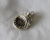 Great White Shark Head pendant in Sterling Silver with authentic 2 Reale  coin.