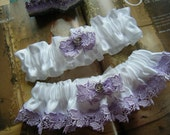 Lilac Venice Lace and White Satin Garter Set