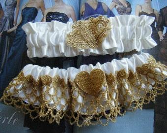 Gold and Ivory Garter Set