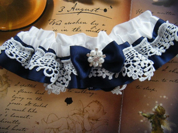 Classic Navy Satin White Satin with White Venice Lace Garter      -ready to ship-