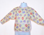 Shirt Saver Full Coverage Baby or Toddler Bib With Long Sleeves and Pocket- Butterflies