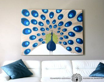 """Acrylic painting """"Majestic"""". Extra large peacock painting 48x36 with Swarovski® crystals. Peacock artwork. Peacock decor 36x48 Lydia Gee"""