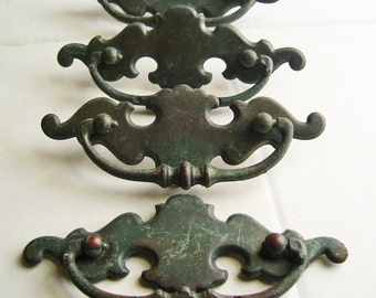 Antique Brass Drawer Pulls Set of Four Chippendale Style