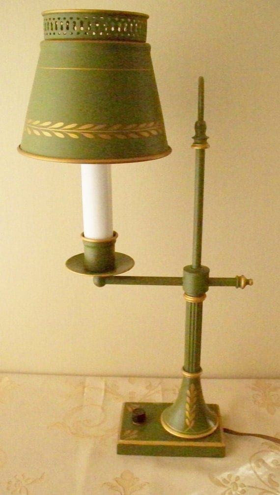 Toleware Student Lamp Desk Table Lamp Green By