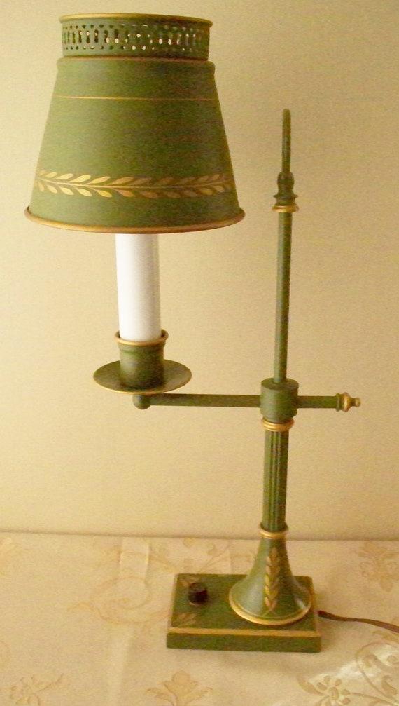 Toleware Student Lamp Desk Table Lamp Green Metal Shade