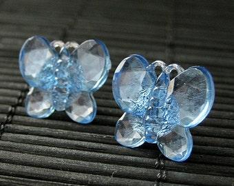 Blue Butterfly Earrings. Blue Earrings with Silver Stud Earring Backs. Handmade Jewelry.
