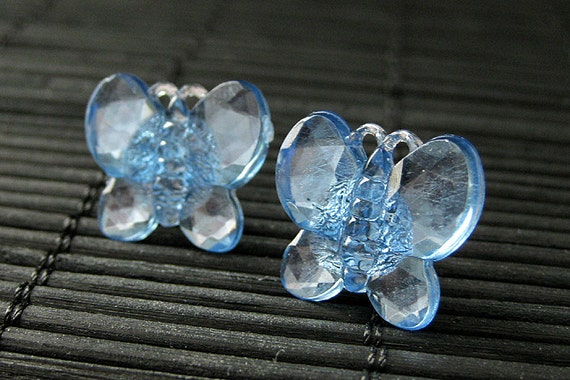 Blue Butterfly Earrings. Blue Earrings with Silver Stud Earring Backs. Handmade Jewelry.
