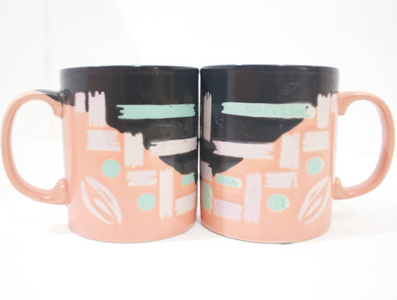 SALE Vintage Retro Neon Colored Mugs