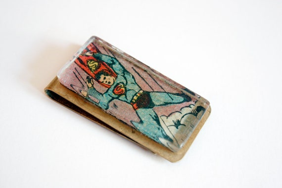Recycled vintage comic book money clip