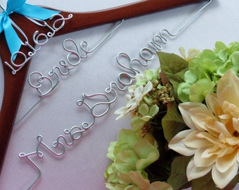 Custom Wedding Hanger, Name Hanger with Date Charm, Wedding Party Gift, Bride Hanger, Unique Gift