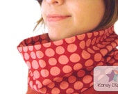 Polka Dots Scarf Cowl. Red pink Neckwarmer. Gift under 25 usd. OOAK