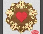 Ginger Bread Round Candle Mat PRECUT Wool Applique KIT with Instructions, Christmas, Winter, Holiday, Penny Rug, Needlecraft, Quilt, Brown