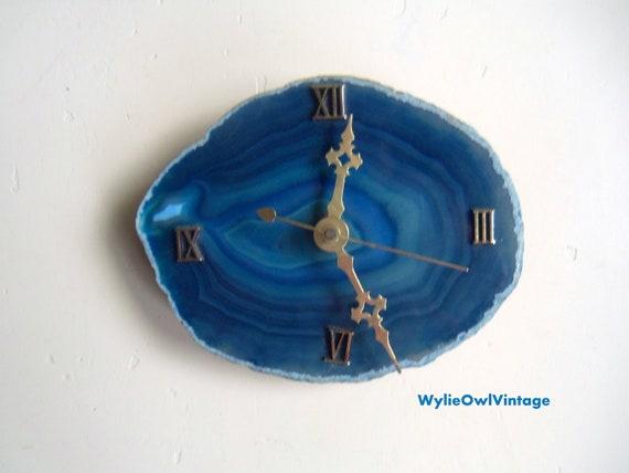 Vintage Blue Geode Wall Clock 1960s