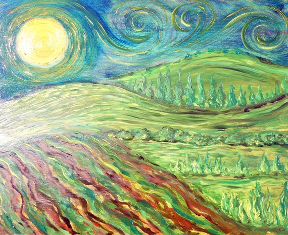 Oil painting on masonite original 8X10 in dreamy shades of green and blue, Vincent's Moon