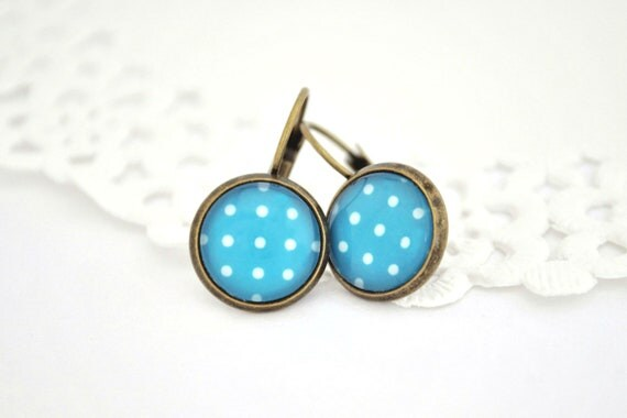 Dangle Earrings White and Blue Polka Dot...Antique Brass, Glass Cabochon...