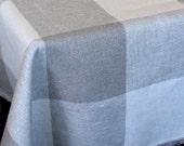"SALE Linen Tablecloth Natural White Gray Linen Lace  118.1"" x 58.3"""