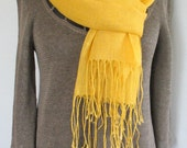 Linen Scarf Yellow Shawl