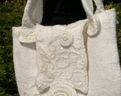 Felted white bag natural wool romantic Boxo