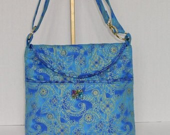 Fabric Handbag Crossbody - Teal and Royal Blue Quilted Cotton Medium Cross Body Purse