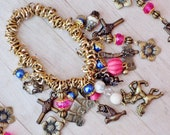 Wild West - Western Cowgirl Pink & White Turquoise Horse Chuckwagon Flower Tomahawk Cross Crystal Pearl Chunky Charm Stretch Bracelet