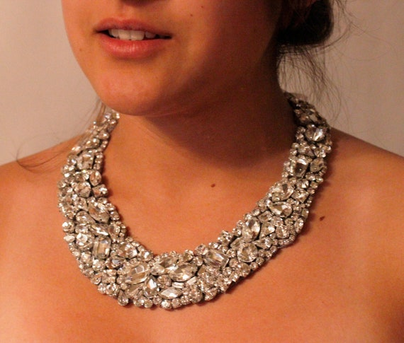 Classic Old Hollywood Rhinestone Crystal Necklace With Ribbon Tie This necklace Fits Perfect it Lay on Your Neck Very Nicly