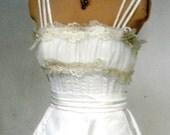 1950s Stunning Wedding Dress Ivory Satin Spaghetti Straps Custom