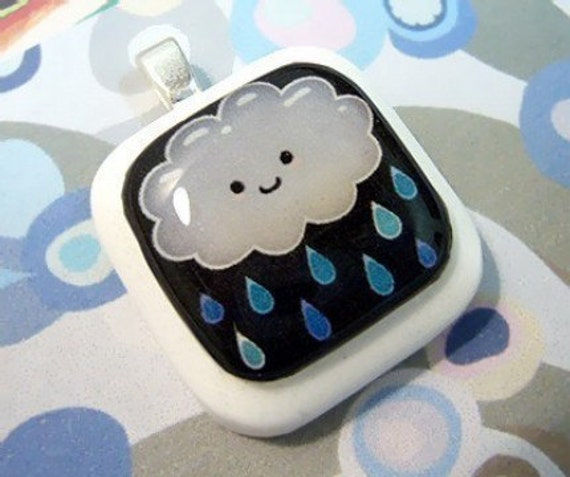 Happy Rain Cloud Resin Pendant
