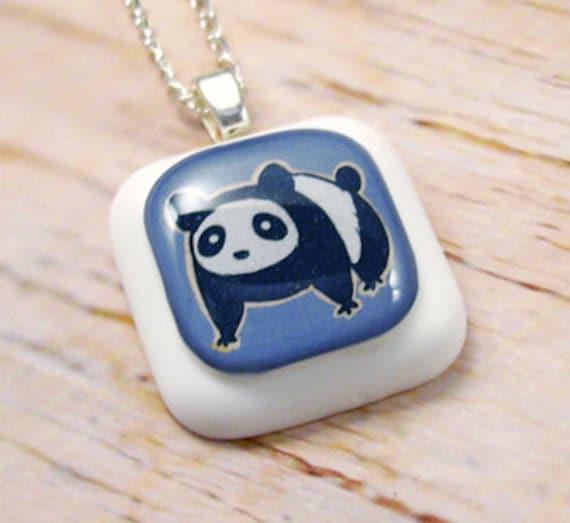 Blue Panda Resin Pendant