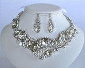 Sparkle-1120 Beautiful Vintage Inspired Fancy Cuts Crystal Rhinestone Statement Necklace Set, Bridal, Wedding